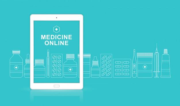 Здравоохранение и медицинский онлайн ipad с бутылками набор таблеток