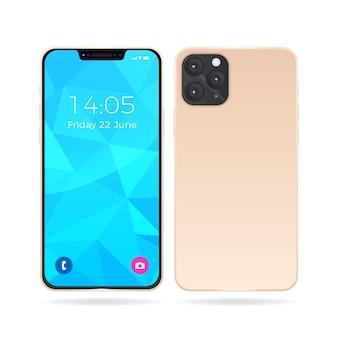 Реалистичный iphone 11 с розовой задней крышкой и чечевицей