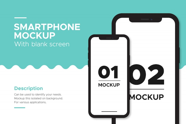 Iphone banner mockup object isolated on background.