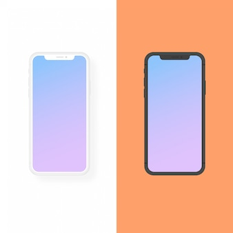 Iphone clay and flat design vector mockup