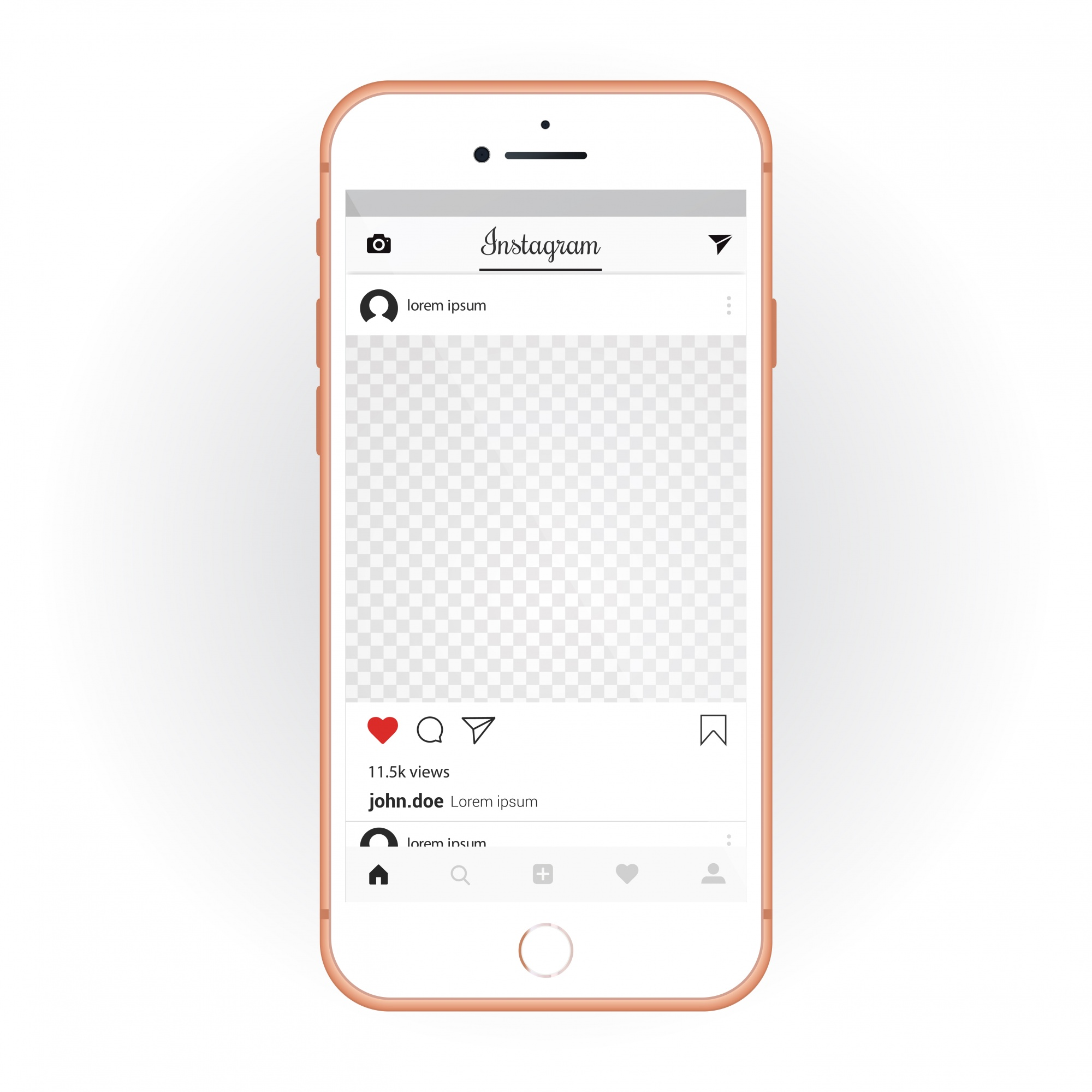 IPhone with mobile UI kit Instagram. Smartphone mockup and chat app