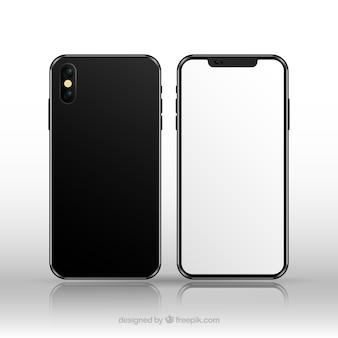 현실적인 스타일의 흰색 화면이있는 iphone x