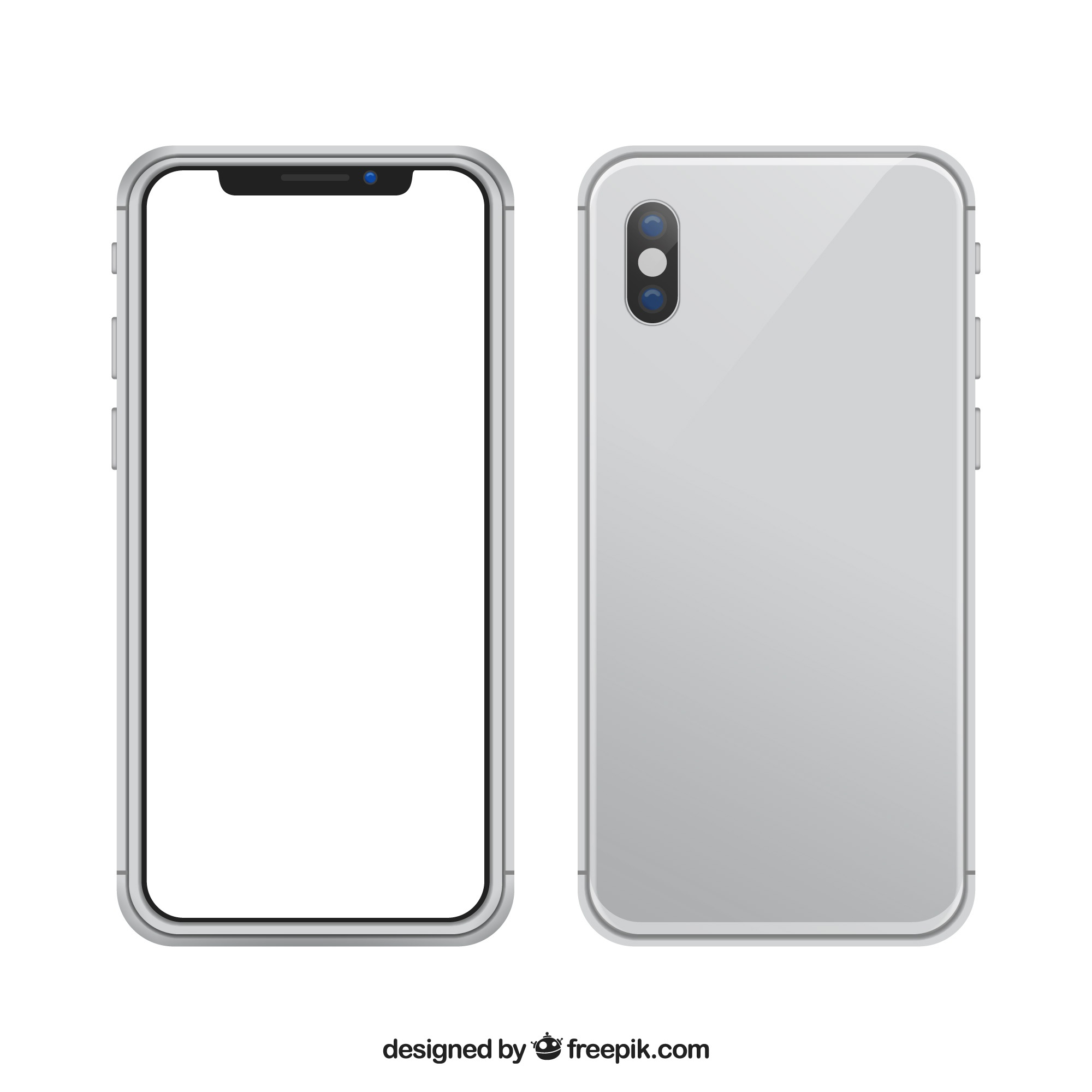 Iphone x with white screen in realistic style