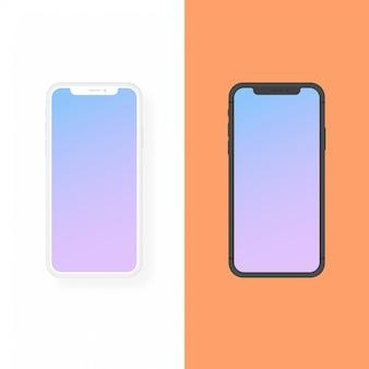 Iphoneの粘土とフラットデザインのベクトルモックアップ