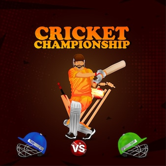 Ipl концепция матча по крикету игрок с битой играет в крикет