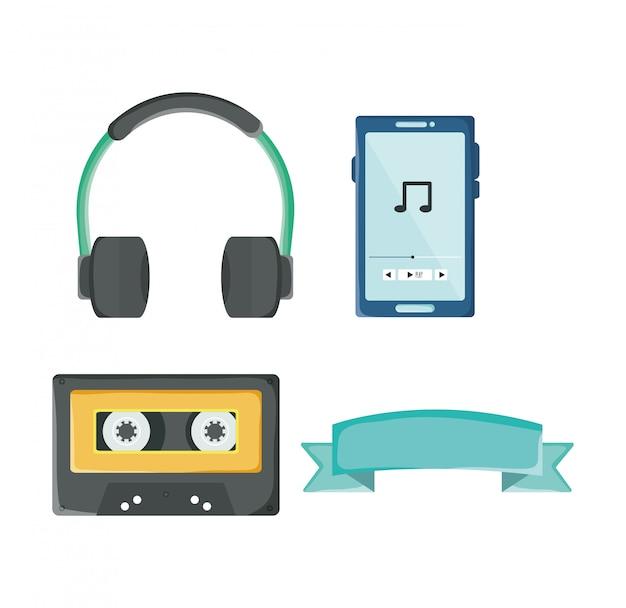若者文化アクセサリーのセット:ヘッドフォン、カセット、リボン、ipod