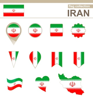 Iran flag collection, 12 versions