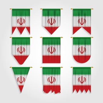 Iran flag in different shapes, flag of iran in various shapes