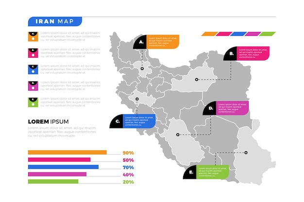 Iran mappa infografica