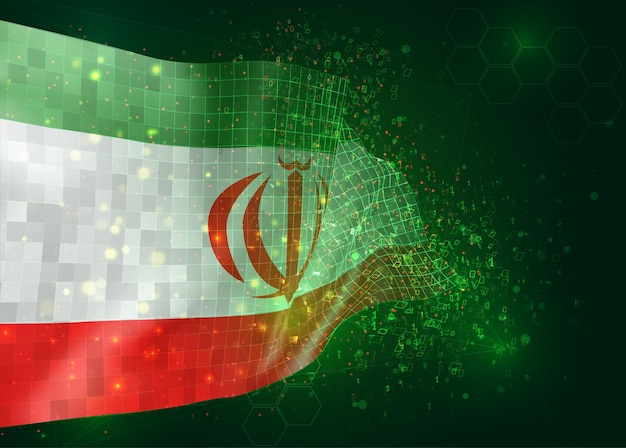 Iran, on vector 3d flag on green background with polygons and data numbers