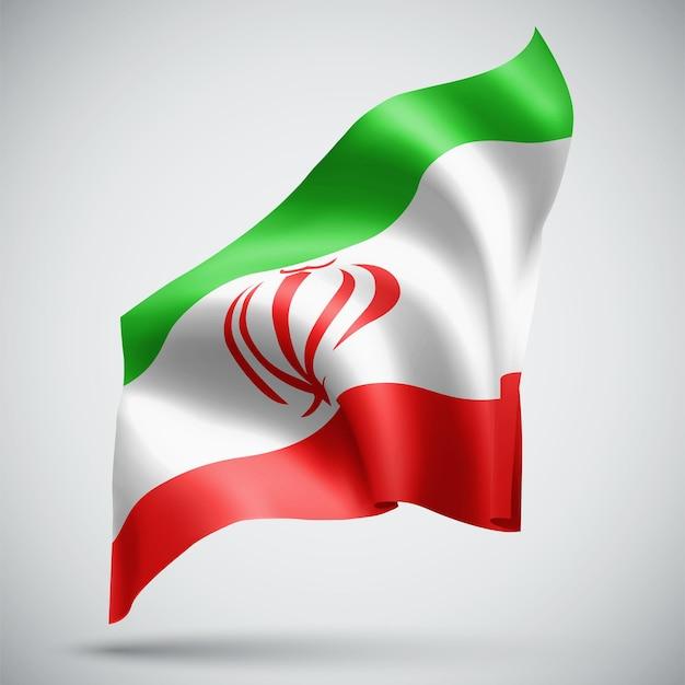 이란, 흰색 배경에 고립 된 벡터 3d 플래그