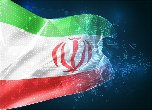이란, 벡터 플래그, 파란색 배경에 삼각형 다각형에서 가상 추상 3d 개체