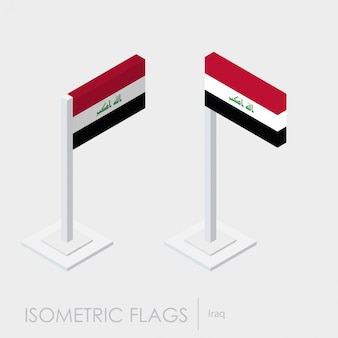 Iraq flag 3d isometric style