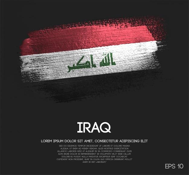 Iraq flag made of glitter sparkle brush paint