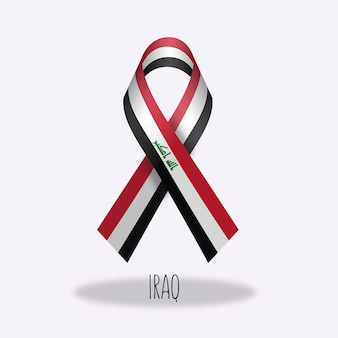 Iraq flag ribbon design