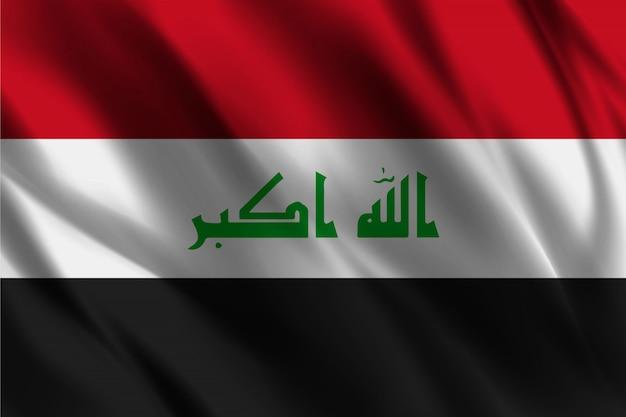 イラクの旗の抽象的な背景を振って
