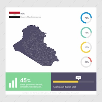 Iraq map & flag infographics template