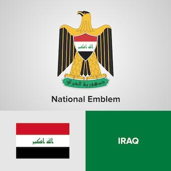 Iraq national emblem and flag