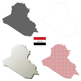 Iraq vector outline map set