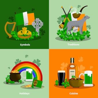 アイルランド料理の伝統の2x2フラットセットsimbols休日の装飾の組成