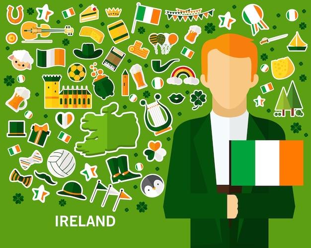 アイルランドのコンセプト背景。フラットアイコン