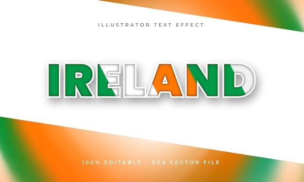 아일랜드 국기 텍스처가 있는 아일랜드 편집 가능한 텍스트 효과
