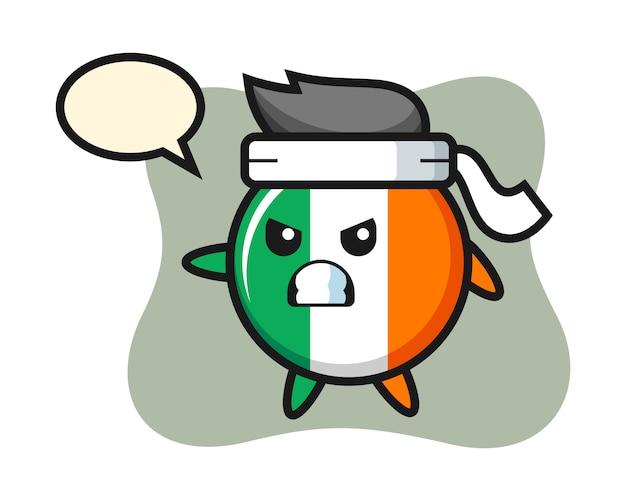 가라테 전투기로 아일랜드 국기 배지 만화 그림