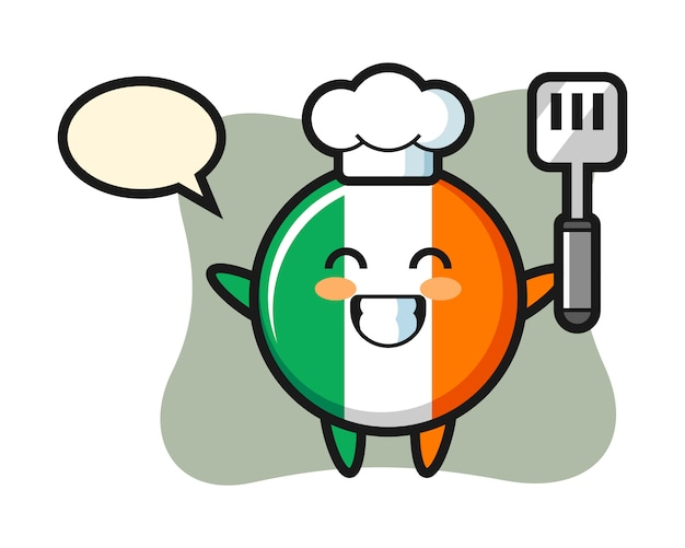 Ireland flag badge character illustration as a chef is cooking