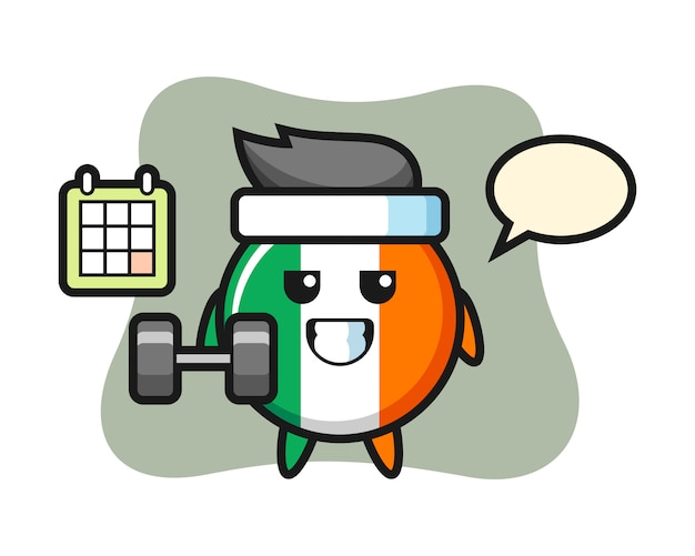 아일랜드 국기 배지 마스코트 만화 아령으로 피트 니스를 하 고