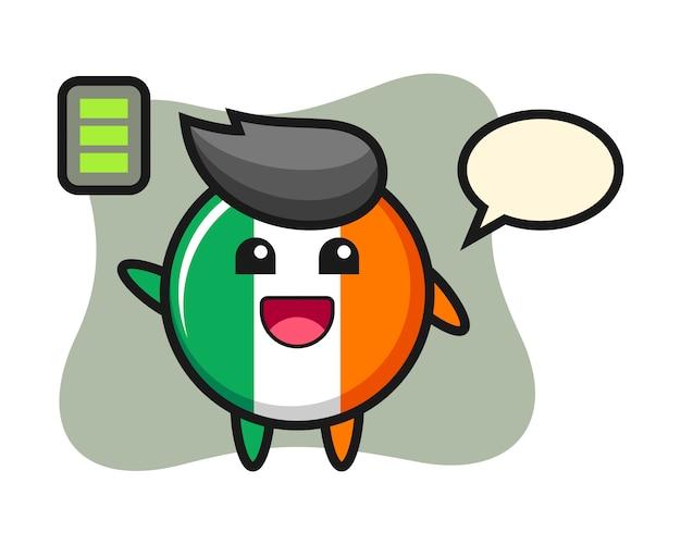 Ireland flag badge mascot character with energetic gesture