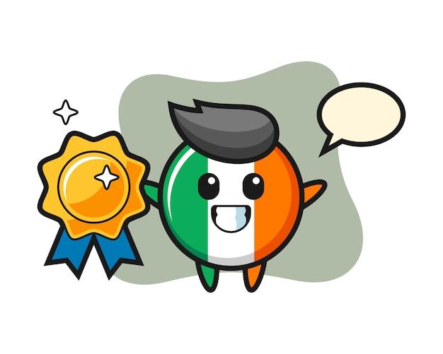 Ireland flag badge mascot illustration holding a golden badge