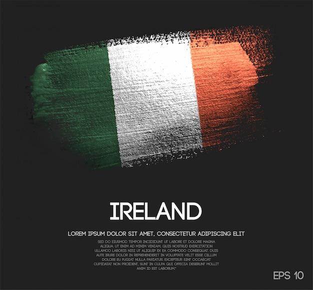 Ireland flag made of glitter sparkle brush paint