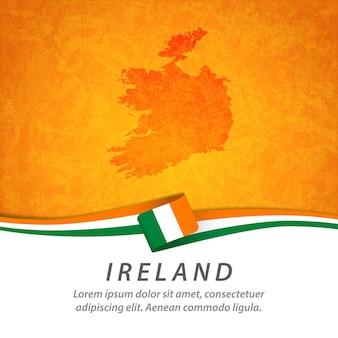 중앙지도와 아일랜드 국기