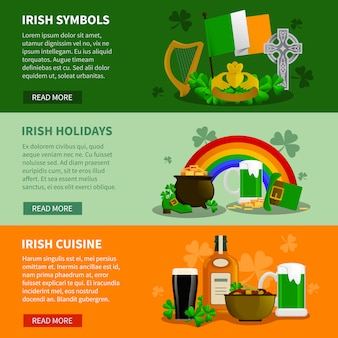 Ireland flat banners with simbols of saint patrick festival and elements of irish cuisine