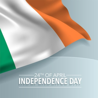 Ireland happy independence day greeting background. irish national day 24th of april with  flag