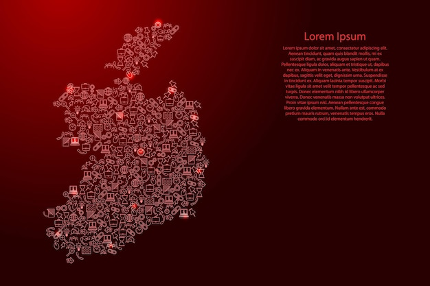 Ireland map from red and glowing stars icons pattern set of seo analysis concept or development, business. vector illustration.