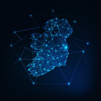 Ireland map glowing silhouette outline made of stars lines dots triangles, low polygonal shapes