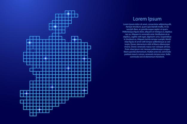 Ирландия карта силуэт из синей мозаичной структуры квадратов и светящихся звезд. векторная иллюстрация.