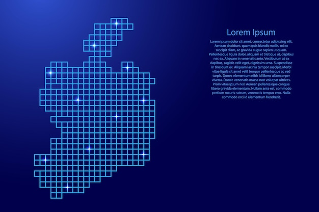 Ireland map silhouette from blue mosaic structure squares and glowing stars. vector illustration.