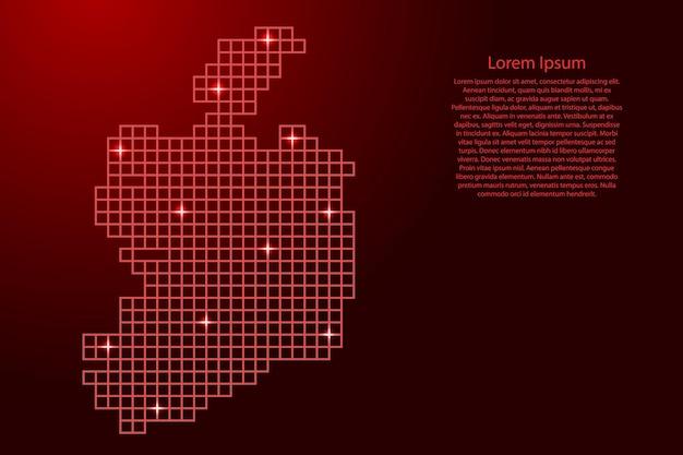 Силуэт карты ирландии из красных квадратов структуры мозаики и светящихся звезд. векторная иллюстрация.