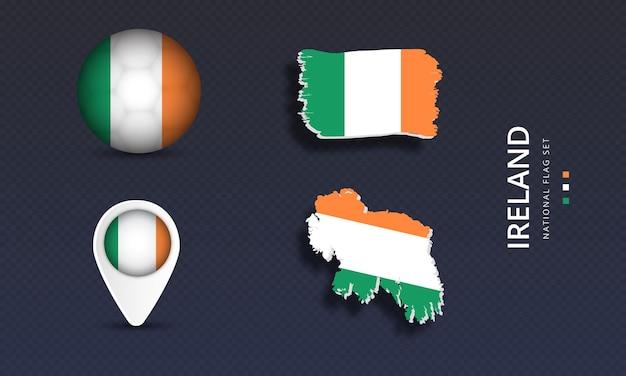 아일랜드 국가 국가 웨이브 플래그 세트