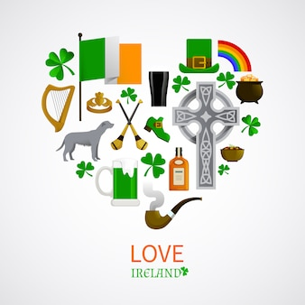 Ireland national traditions icons composition