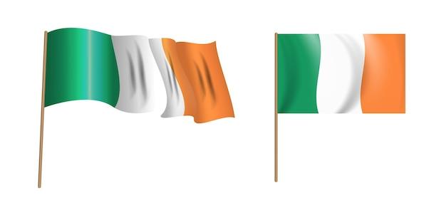 アイルランドのカラフルで自然主義的なアイルランドの手を振る旗