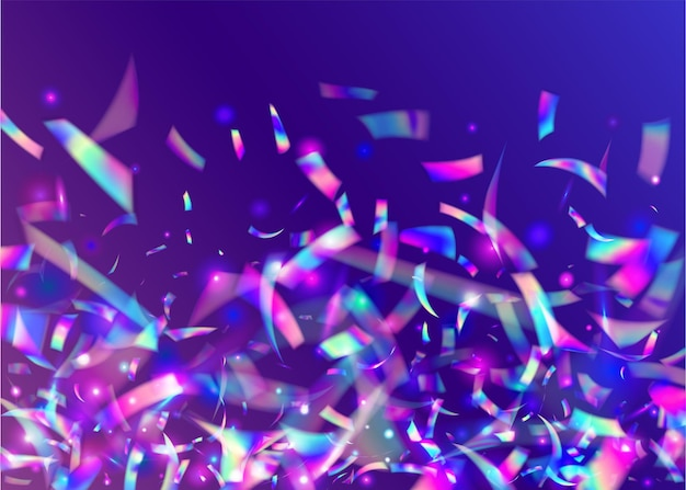 무지개 빛깔의 배경입니다. 샤이니 플라이어. 레이저 축하 장식. 만화경 효과. 바이올렛 레트로 틴셀. 판타지 아트. 글래머 포일. 생일 반짝. 보라색 무지개 빛깔의 배경