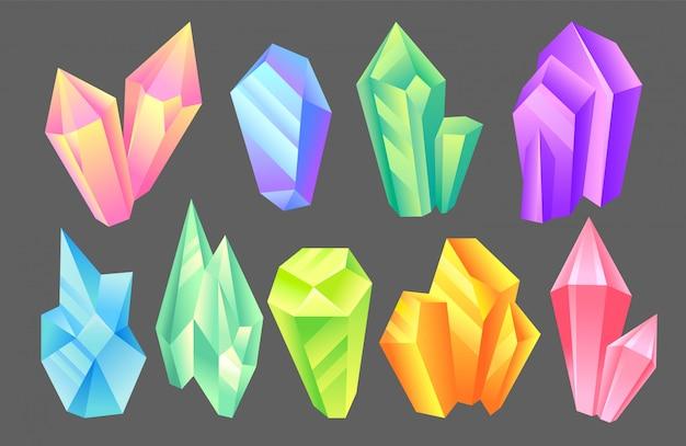 Iridescent stones set, minerals, crystals, gems, precious gemstones or semiprecious stones  illustration