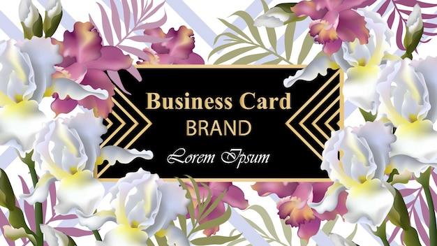 アイリス花カードベクトル。招待状、結婚式、ブランドブック、名刺、ポスターのための美しいイラスト。テキストのための場所