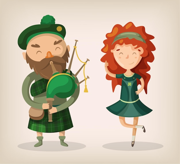 Irish bold man with beard in traditional kilt uniform play bagpipe and redhead girl dancing and smile