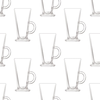 Irish coffee mug seamless pattern. hand drawn glassware cup.