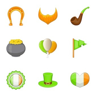 Irish day icons set, cartoon style