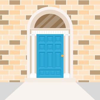 아일랜드어 문 모양과 패턴이있는 벽돌 벽 만들기.